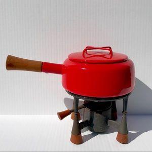 Vintage Dansk Kobenstyle Red Fondue Pot With Stand